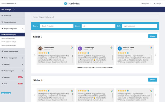 Example screenshot of how to embed reviews for the Trustindex plugin